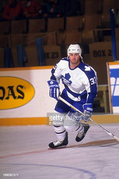 Al Iafrate of the Toronto Maple Leafs warmsup before an NHL game in February 1990 at the Maple Leaf Gardens in Toronto Ontario Canada