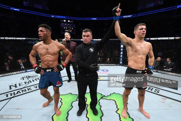 Al Iaquinta celebrates his victory over Kevin Lee in their lightweight bout during the UFC Fight Night event at Fiserv Forum on December 15 2018 in...