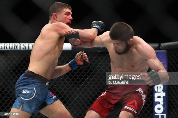 Al Iaquinta throws a right hand at Khabib Nurmagomedov during their UFC lightweight championship bout at UFC 223 at Barclays Center on April 7 2018...