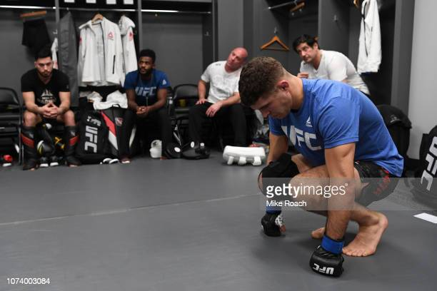 Al Iaquinta warms up backstage during the UFC Fight Night event at Fiserv Forum on December 15 2018 in Milwaukee Wisconsin