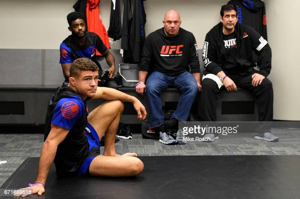 Al Iaquinta warms up in his locker room prior to his fight during the UFC Fight Night event at Bridgestone Arena on April 22 2017 in Nashville...