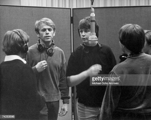 Al Jardine and Brian Wilson of the rock and roll band The Beach Boys recording 'Pet Sounds' at Western Recorders studios in the Spring of 1966 in Los...