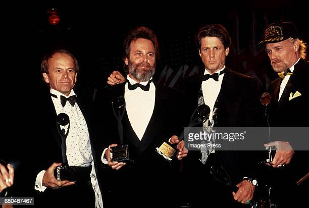 Al Jardine, Carl Wilson, Brian Wilson & Mike Love of The Beach Boys attend the 1988 Rock n Roll Hall of Fame Induction Ceremony circa 1988 in New...