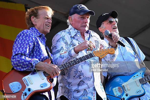 Al Jardine, Mike Love and David Marks of The Beach Boys perform during he 2012 New Orleans Jazz & Heritage Festival Presented by Shell at the Fair...