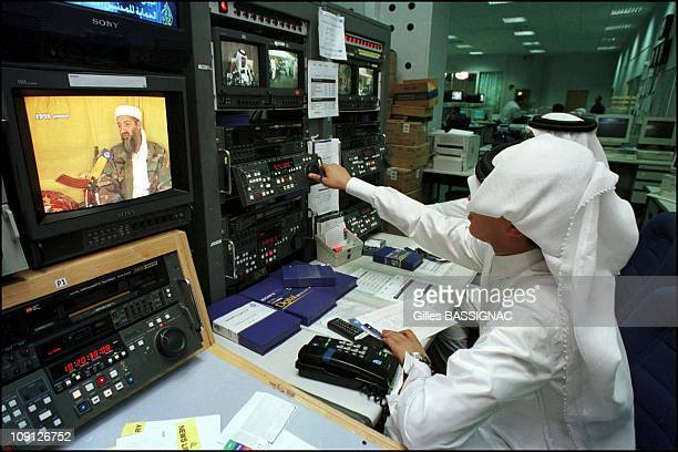 'Al Jazeera' The Arab World'S Counterpart To Cnn On October 10Th 2001 In Doha Qatar Film Editing Room Editor Working On A Bin Laden Related Report