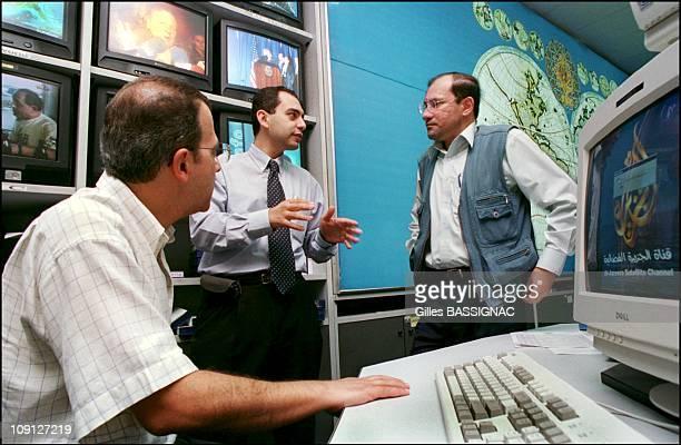 'Al Jazeera' The Arab World'S Counterpart To Cnn On October 13Th 2001 In Doha Qatar Hibrahim Hilal Al Jazeera Chief Editor In The Redaction Room