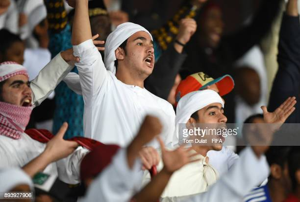 Al Jazira fans celebrate during the FIFA Club World Cup UAE 2017 third place match between Al Jazira and CF Pachuca at Zayed Sports City Stadium on...