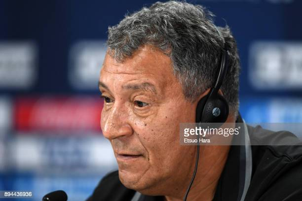Al Jazira head coach Henk Ten Cate attends a press conference ahead of the FIFA Club World Cup UAE 2017 third place match between Al Jazira and CF...