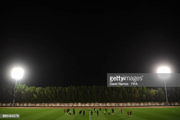 Al Jazira players in actio during a training session at the Special Needs Sports complex on December 4 2017 in Al Ain United Arab Emirates