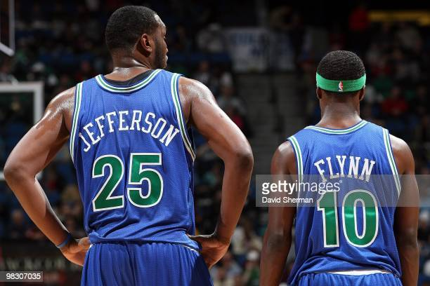 Al Jefferson and Jonny Flynn of the Minnesota Timberwolves stand on the court during the game against the Phoenix Suns on March 28 2010 at the Target...