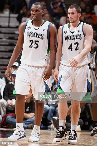 Al Jefferson and Kevin Love of the Minnesota Timberwolves walk down the court during the game against the Memphis Grizzlies on December 29 2008 at...