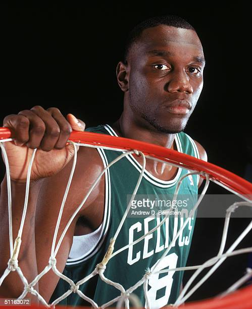 Al Jefferson of the Boston Celtics poses for a portrait during the 2004 NBA Rookie Shoot at Madison Square Garden Training Facility on August 2, 2004...
