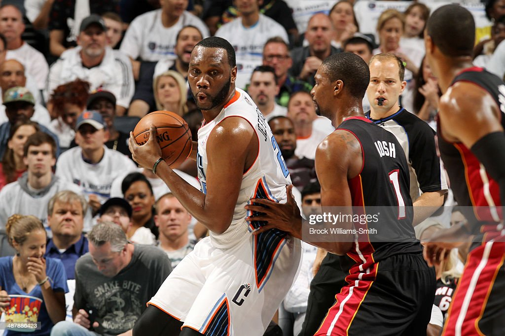 Al Jefferson #25 of the Charlotte Bobcats handles the ball against the Miami Heat in Game Three of the Eastern Conference Quarterfinals of the 2014 NBA playoffs at the Time Warner Cable Arena on April 26, 2014 in Charlotte, North Carolina.