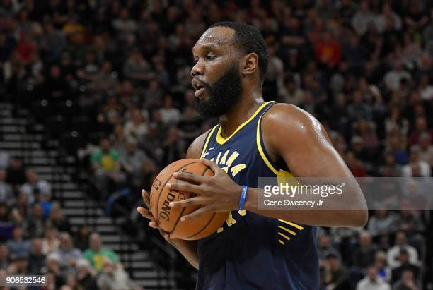 Al Jefferson of the Indiana Pacers controls the ball during a game against the Utah Jazz at Vivint Smart Home Arena on January 15 2018 in Salt Lake...