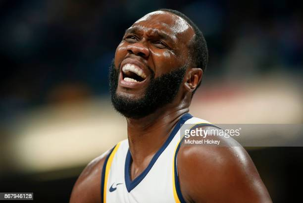 Al Jefferson of the Indiana Pacers reacts during the game against the San Antonio Spurs at Bankers Life Fieldhouse on October 29 2017 in Indianapolis...