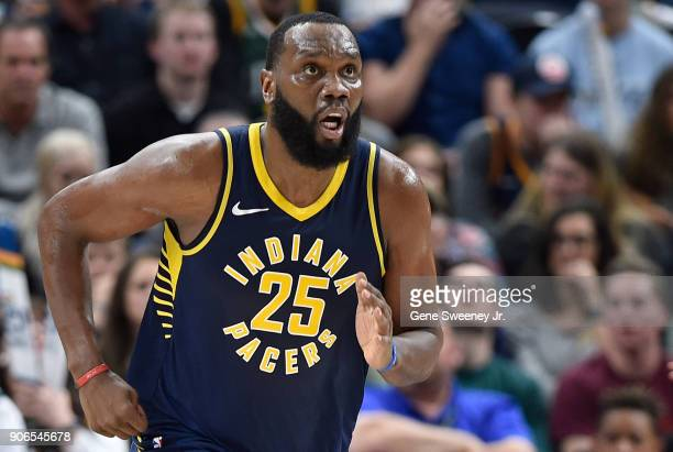 Al Jefferson of the Indiana Pacers runs up court during a game against the Utah Jazz at Vivint Smart Home Arena on January 15 2018 in Salt Lake City...