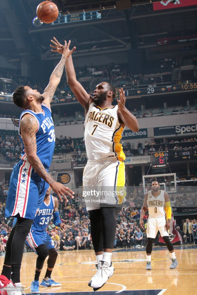 Al Jefferson #7 of the Indiana Pacers shoots the ball against the Philadelphia 76ers on March 26, 2017 at Bankers Life Fieldhouse in Indianapolis, Indiana.