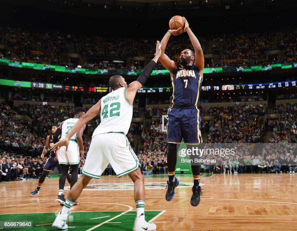Al Jefferson of the Indiana Pacers shoots the ball against the Boston Celtics during the game on March 22 2017 at the TD Garden in Boston...