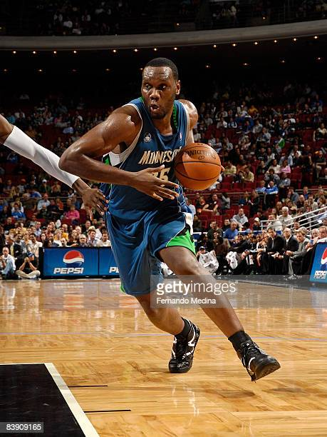 Al Jefferson of the Minnesota Timberwolves dribbles against the Orlando Magic during the game on December 3 2008 at Amway Arena in Orlando Florida...