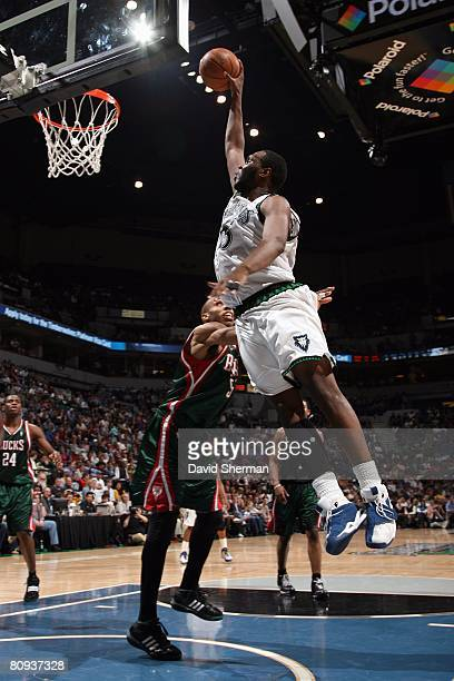 Al Jefferson of the Minnesota Timberwolves goes up for the shot during the NBA game against the Milwaukee Bucks at the Target Center on April 16 2008...