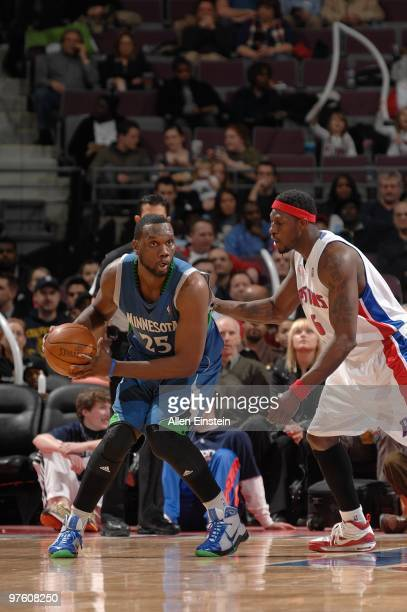 Al Jefferson of the Minnesota Timberwolves handles the ball against Ben Wallace of the Detroit Pistons during the game on February 16 2010 at The...