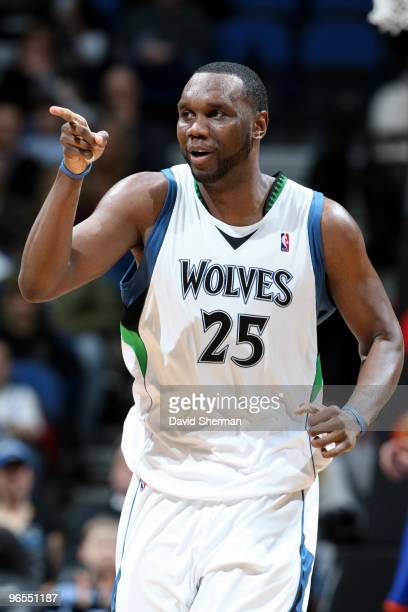 Al Jefferson of the Minnesota Timberwolves points as he moves up court during the game against the New York Knicks at Target Center on January 31...