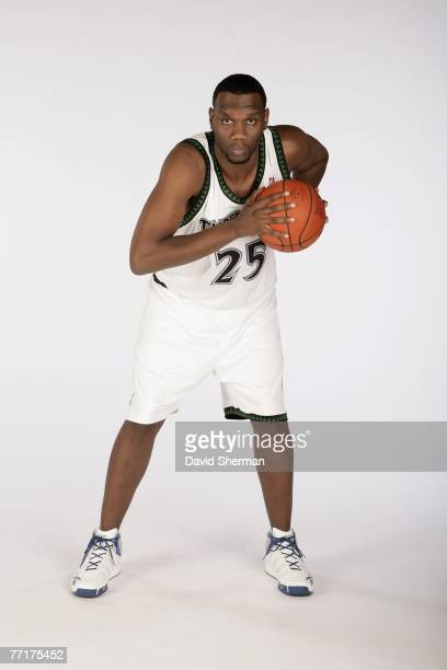 Al Jefferson of the Minnesota Timberwolves poses for a portrait during NBA Media Day at the Target Center on September 28 2007 in Minneapolis...