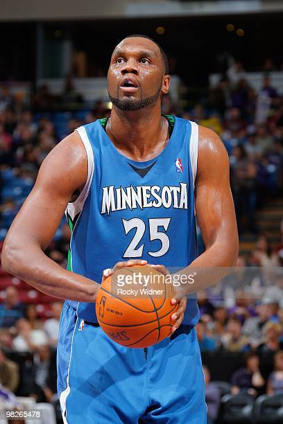 Al Jefferson of the Minnesota Timberwolves shoots a free throw during the game against the Sacramento Kings on March 14 2010 at ARCO Arena in...