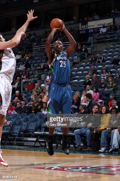 Al Jefferson of the Minnesota Timberwolves shoots a jumpshot against Andrew Bogut of the Milwaukee Bucks on October 17 2009 at the Bradley Center in...
