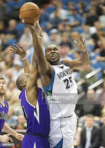 Al Jefferson of the Minnesota Timberwolves shoots a layup against the Sacramento Kings during the game on March 31 2010 at the Target Center in...