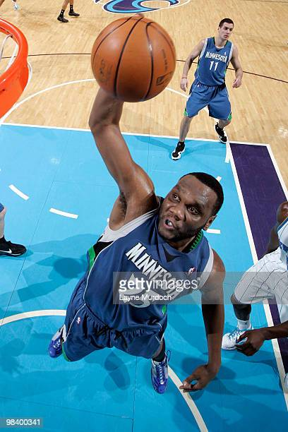 Al Jefferson of the Minnesota Timberwolves shoots against the New Orleans Hornets on April 11 2010 at the New Orleans Arena in New Orleans Louisiana...