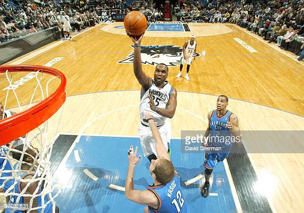 Al Jefferson of the Minnesota Timberwolves shoots over Nenad Krstic of the Oklahoma City Thunder during the game at Target Center on February 21 2010...