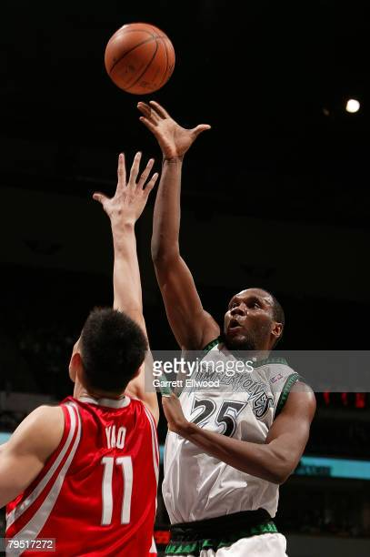 Al Jefferson of the Minnesota Timberwolves shoots over Yao Ming of the Houston Rockets on February 4 2008 at the Target Center in Minneapolis...