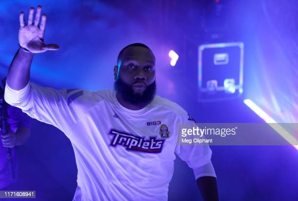 Al Jefferson of the Triplets enters the arena to play in the BIG3 Championship at Staples Center on September 01, 2019 in Los Angeles, California.
