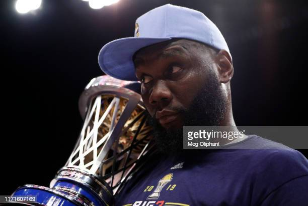 Al Jefferson of the Triplets holds the championship trophy after the Triplets defeated the Killer 3s to win the BIG3 Championship at Staples Center...