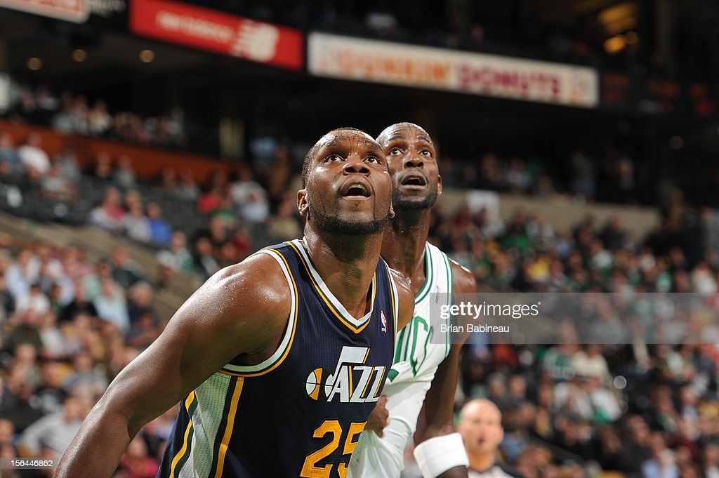 Al Jefferson #25 of the Utah Jazz and Kevin Garnett #5 of the Boston Celtics both await a rebound on November 14, 2012 at the TD Garden in Boston, Massachusetts.