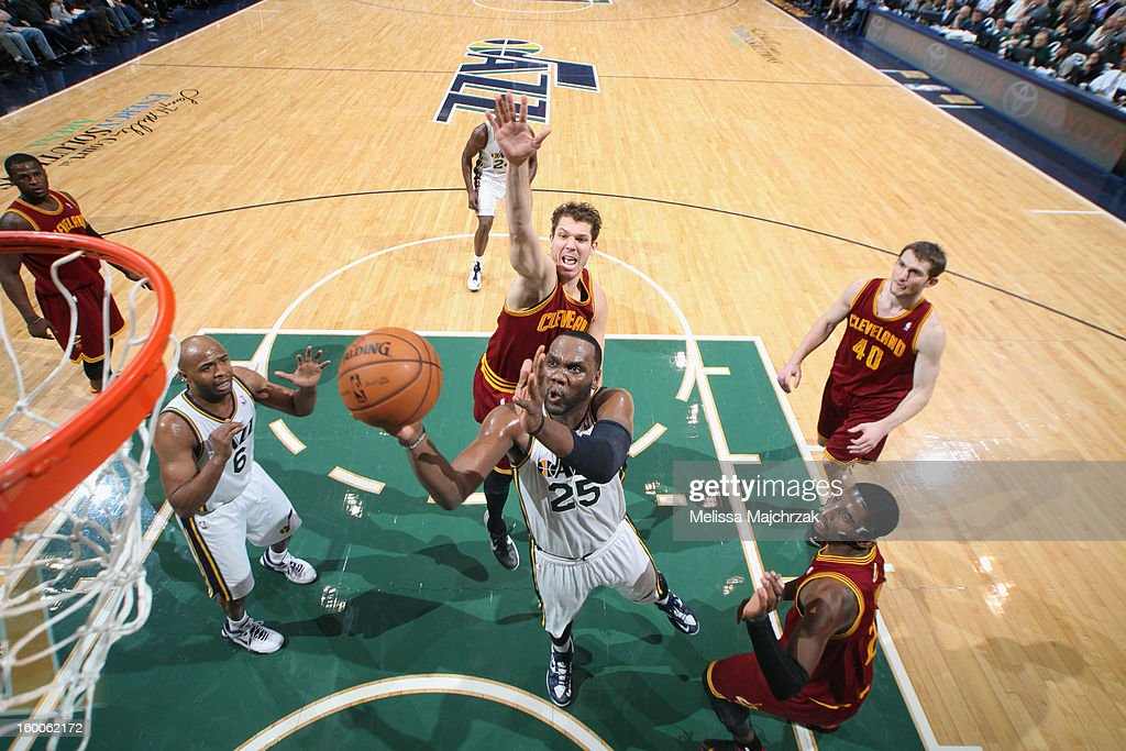 Al Jefferson #25 of the Utah Jazz drives to the basket against the Cleveland Cavaliers on January 19, 2013 in Salt Lake City, Utah.