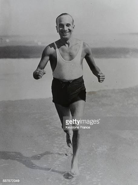 Al Jolson American star of the screen and music halls rests in the studio in Palm Beach in Florida and we can see this popular actor coming back a...