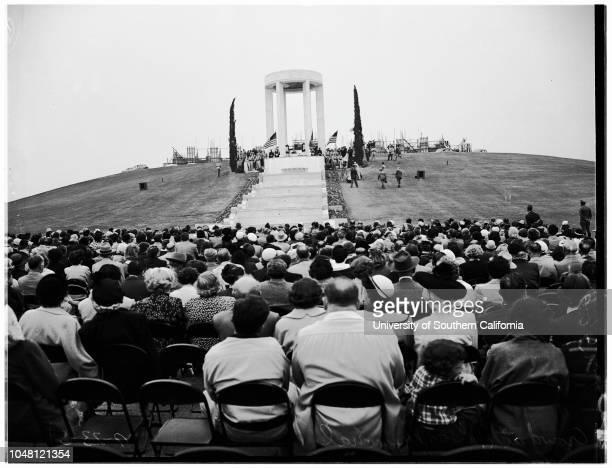Al Jolson Memorial Shrine d, 23 September 1951. Shots of Memorial and El Toro Marine Corps Air Station Color Guard before Shrine;Crowd shots;Asa...