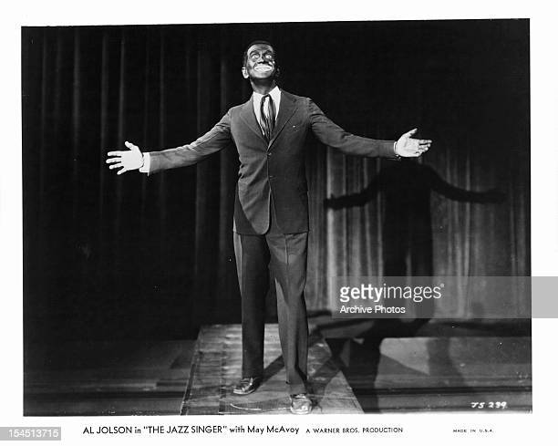 Al Jolson performing on stage in a scene from the film 'The Jazz Singer' 1927