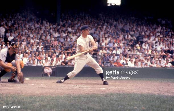 Al Kaline of the Detroit Tigers checks his swing during an MLB game against the Baltimore Orioles on June 28 1959 at Briggs Stadium in Detroit...