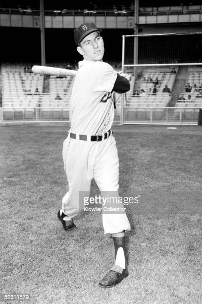 Al Kaline of the Detroit Tigers poses for an action portrait prior to a 1955 season game against the New York Yankees at Yankee Stadium in the Bronx...