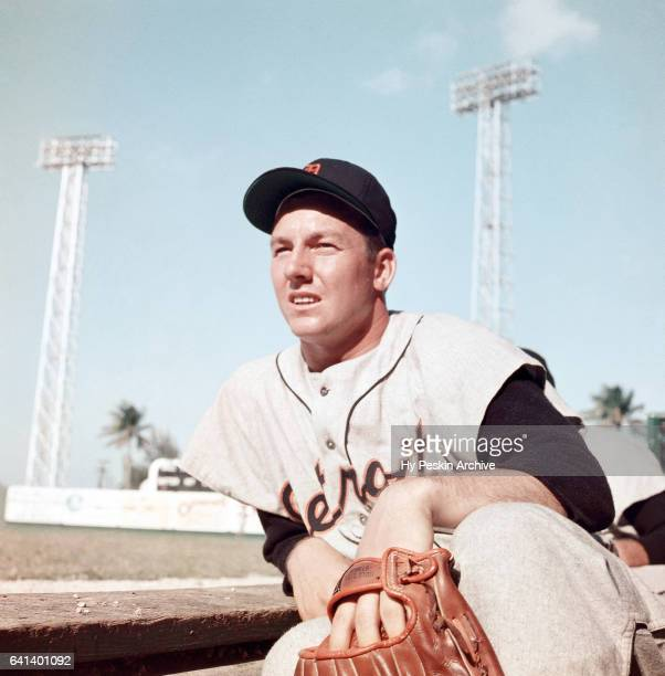 Al Kaline of the Detroit Tigers sits on the dugout steps during a Spring Training game circa March 1957 in Florida