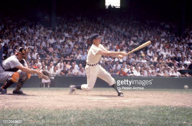 Al Kaline of the Detroit Tigers swings at the pitch during an MLB game against the Baltimore Orioles on June 28 1959 at Briggs Stadium in Detroit...