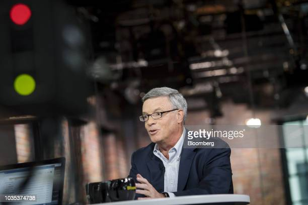 Al Kelly chief executive officer of Visa Inc speaks during a Bloomberg Technology Television interview in San Francisco California US on Monday Sept...