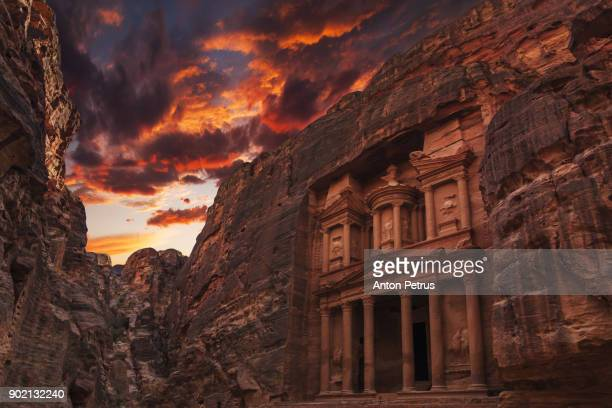 Al Khazneh in the ancient city of Petra, Jordan.