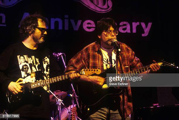Al Kooper and Stephen King perform playing guitar at Al Kooper's 50th birthday party at the Bottom Line New York New York 1990s