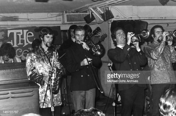 Al Kooper Fred Lipsius Dick Halligan and Jerry Weiss of the rock and roll band 'Blood Sweat And Tears' perform onstage at Steve Paul's The Scene...