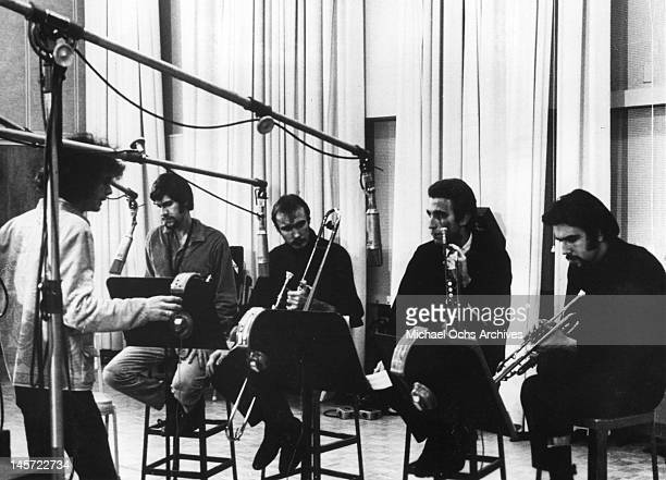 Al Kooper Fred Lipsius Dick Halligan Jerry Weiss and Randy Brecker of the rock and roll band 'Blood Sweat And Tears' record in the studio in circa...