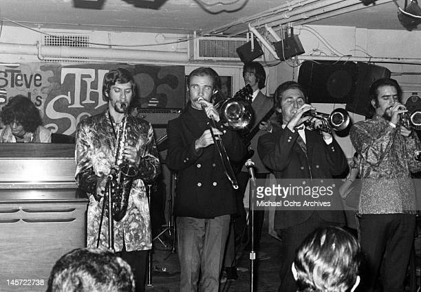 Al Kooper Fred Lipsius Dick Halligan Jerry Weiss and Randy Brecker of the rock and roll band 'Blood Sweat And Tears' perform onstage at Steve Paul's...